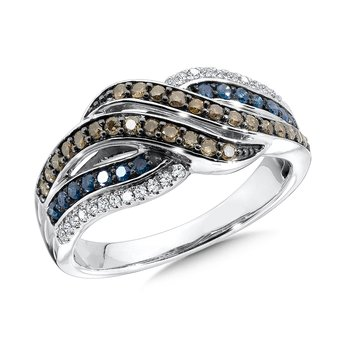 Pave set,  Blue, Cognac and White Diamond Wave Motif Fashion Ring set in 10k White Gold (1/2 ct. tw.)
