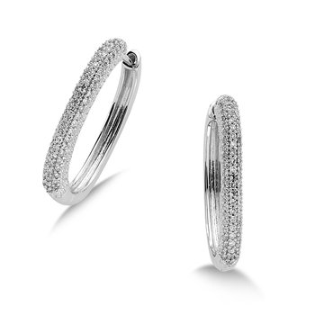 Pave set Triple Row Diamond Hoops in 14k White Gold (1/4ct. tw.) HI/I1