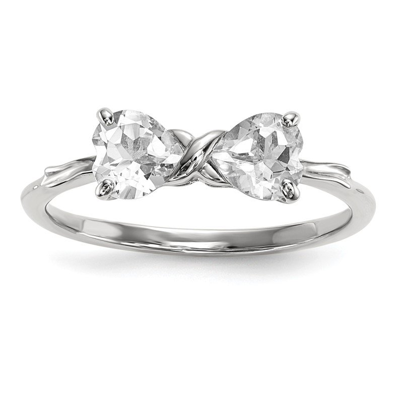Quality Gold 14k White Gold Polished White Topaz Bow Ring
