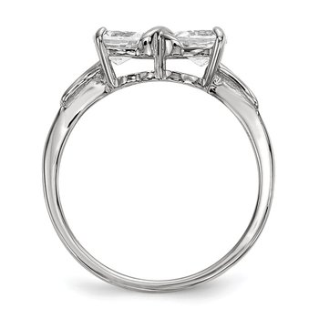14k White Gold Polished White Topaz Bow Ring