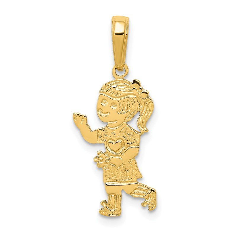 Quality Gold 14K Little Girl Walking with Flowers Pendant