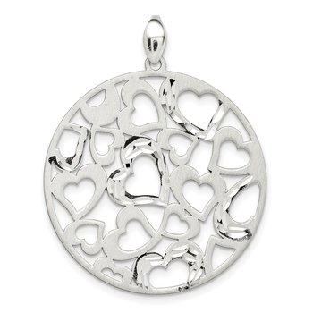Sterling Silver Brushed Hearts Round Pendant