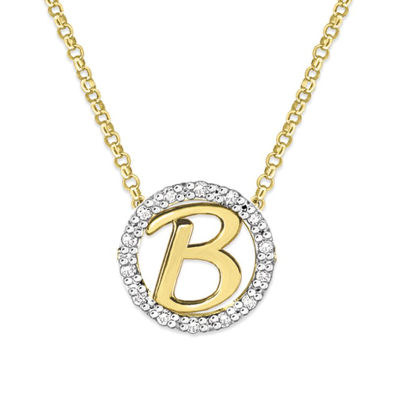 "KC Designs Gold and Diamond Mini Halo ""B"" Initial Necklace"
