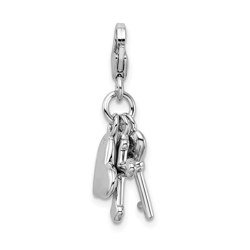 Quality Gold Sterling Silver Amore La Vita Rhodium-plated Heart Cross and Key Charm