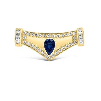 Yellow Gold Diamond Natural Retro Blue Sapphire Pendant Component