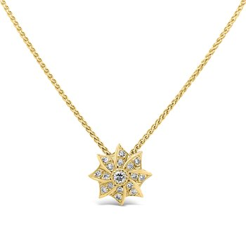 18K Yellow Gold Diamond Retro Star Necklace Vintage