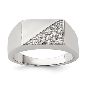 Sterling Silver Rhodium Plated Men's CZ Ring