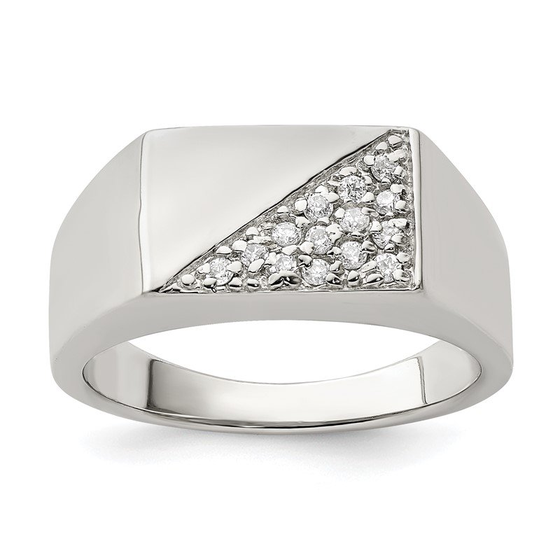 Quality Gold Sterling Silver Men's CZ Ring