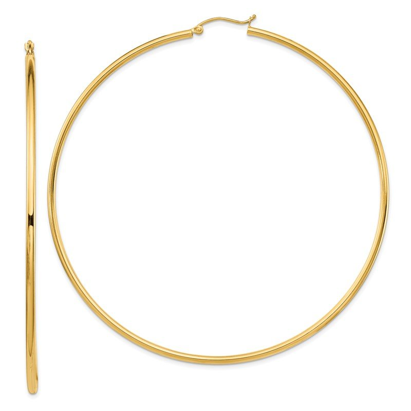 Quality Gold 14k 2mm Polished Hoop Earrings