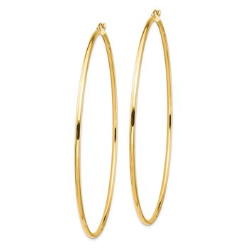 14k 2mm Polished Hoop Earrings