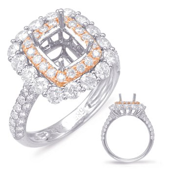 Rose & White Gold Halo Engagement Ring