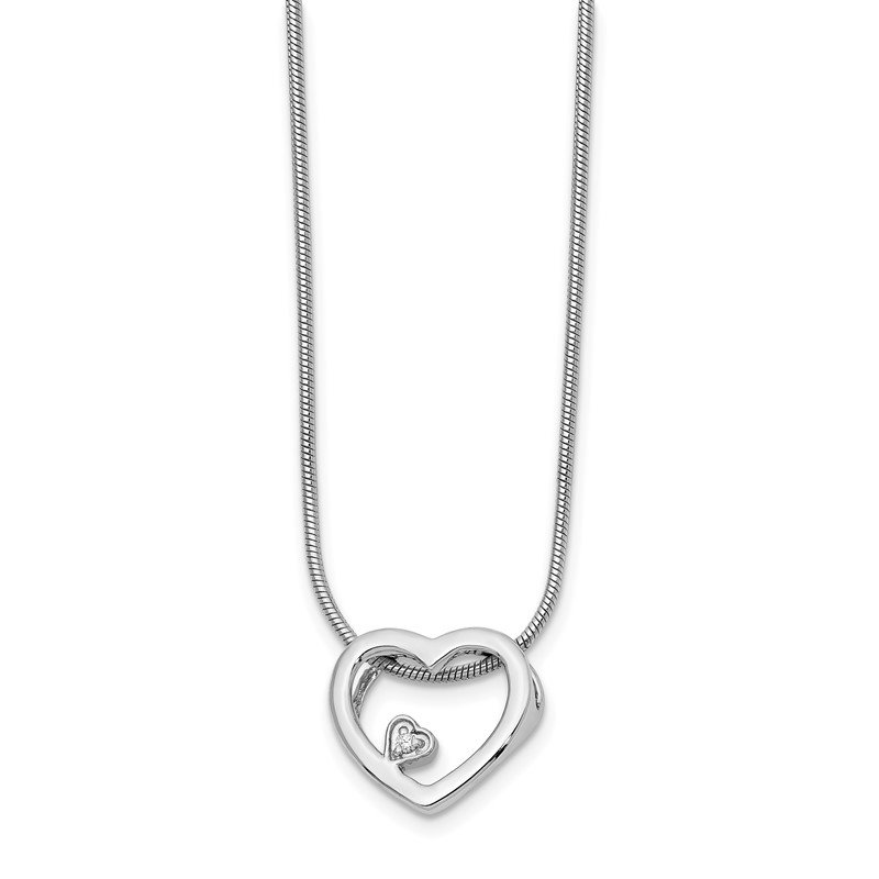 Quality Gold SS White Ice .01ct Diamond Heart Necklace