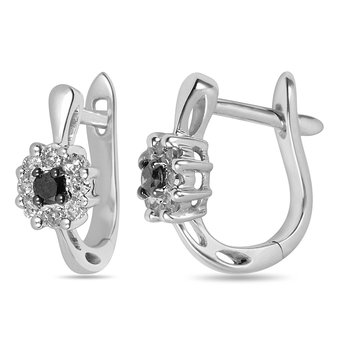 10K WG Black and White Diamond Earring