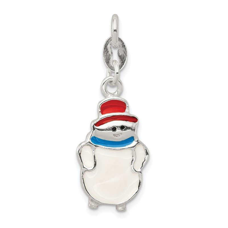 Quality Gold Sterling Silver Polished Enamel Snowman Charm