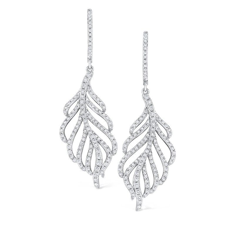 KC Designs 14K Gold and Diamond Leaf Earrings