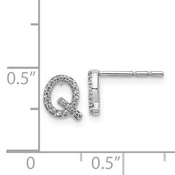 14k White Gold Diamond Initial Q Earrings