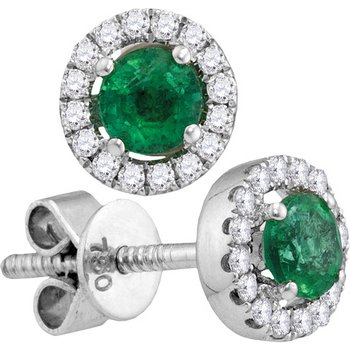 18kt White Gold Womens Oval Emerald Diamond Convertible Dangle Jacket Earrings 3/4 Cttw
