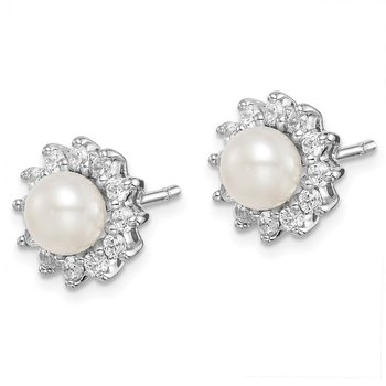Sterling Silver Rhodium Plated CZ and FW Cultured Pearl Post Ear