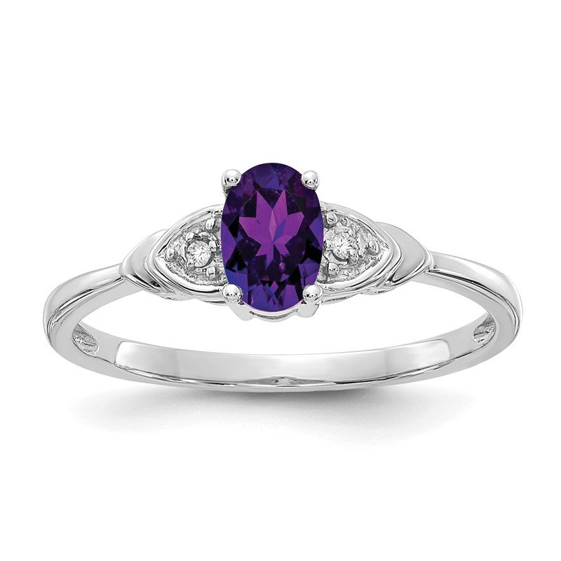 Fine Jewelry by JBD 14k White Gold Amethyst and Diamond Ring