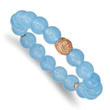 Stainless Steel Rose IP-plated Blue Chalcedony Stretch Bracelet