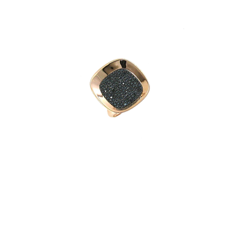 18Kt Rose And Black Gold Large Ring With Diamonds
