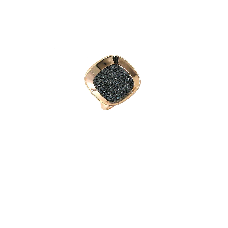 Roberto Coin 18Kt Rose And Black Gold Large Ring With Diamonds