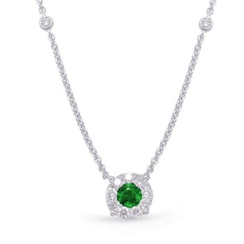 White Gold Emerald & Diamond Necklance
