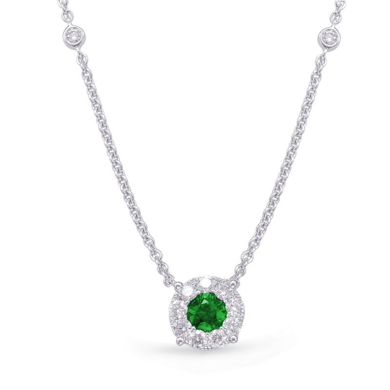 S. Kashi  & Sons White Gold Emerald & Diamond Necklance