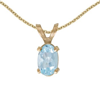 14k Yellow Gold Oval Aquamarine Pendant