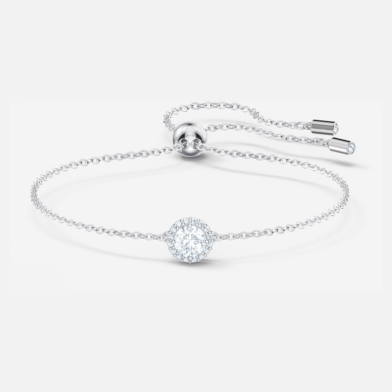 Angelic Round Bracelet, White, Rhodium plated
