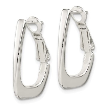 Sterling Silver Tapered Omega Back Hoop Earrings