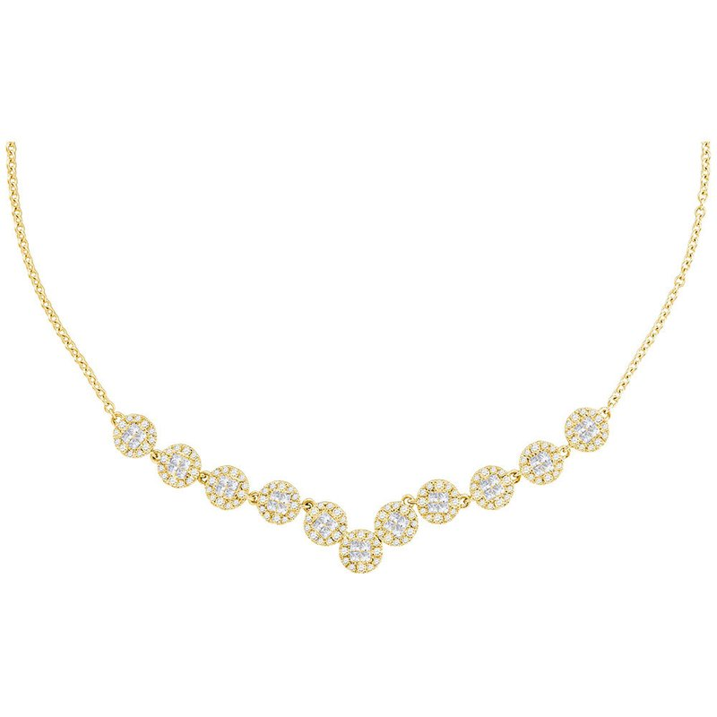 Gold-N-Diamonds, Inc. (Atlanta) 14kt Yellow Gold Womens Princess Diamond Soleil Cluster Luxury Necklace 1-7/8 Cttw