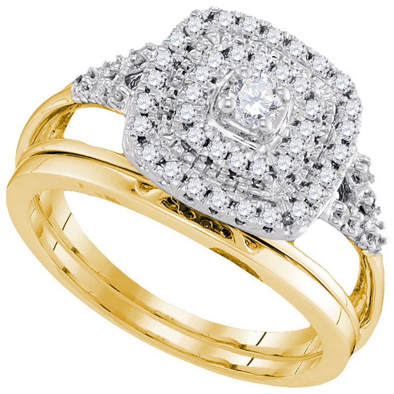 Kingdom Treasures 10kt Yellow Gold Womens Diamond Round Bridal Wedding Engagement Ring Band Set 1/3 Cttw