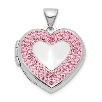 Sterling Silver Rhodium-plated 18mm Pink Preciosa Crystal Heart Locket