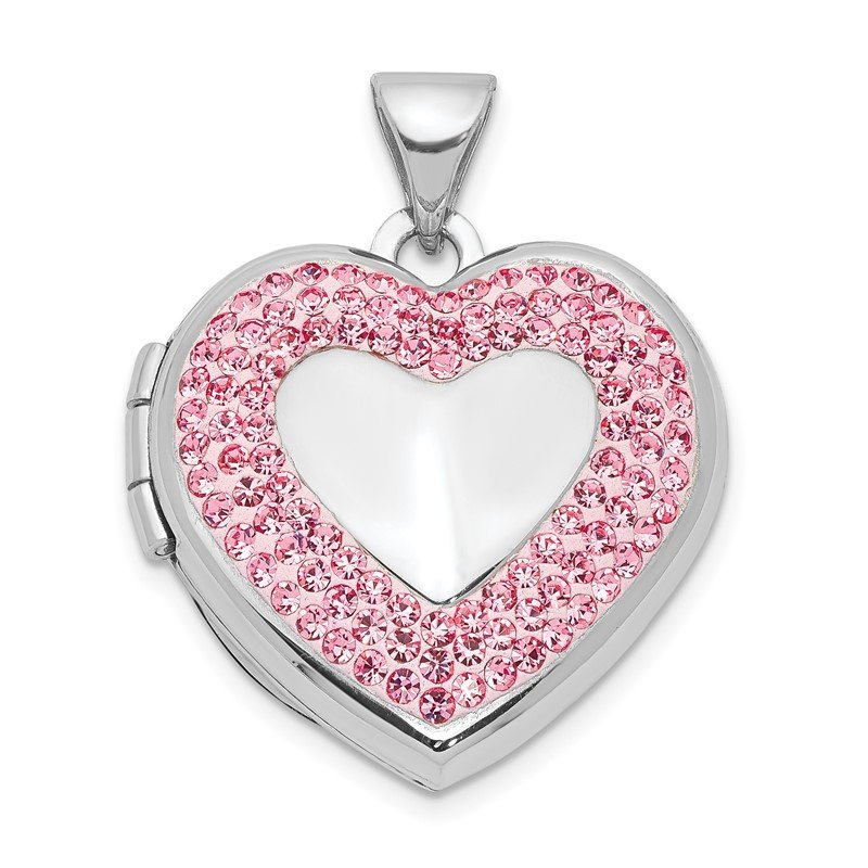 Quality Gold Sterling Silver Rhodium-plated 18mm Pink Preciosa Crystal Heart Locket