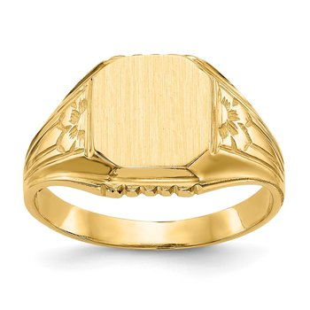 14k 9.0x9.0mm Open Back Floral Signet Ring