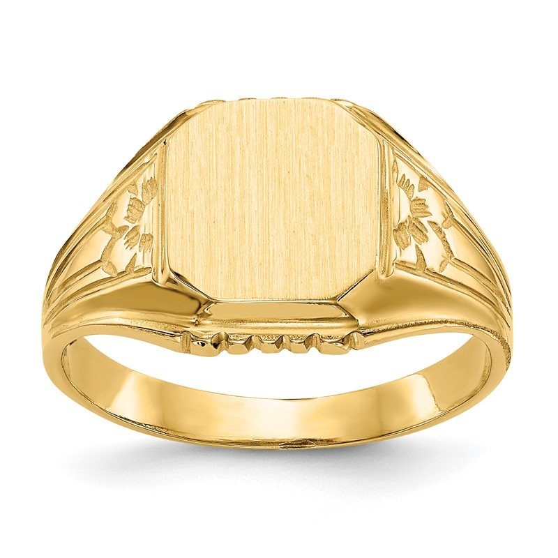 Quality Gold 14k 9.0x9.0mm Open Back Floral Signet Ring