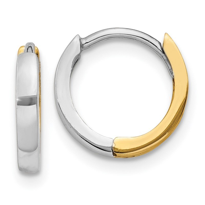 Quality Gold 14k Two-tone 1.75mm Round Hinged Hoop Earrings