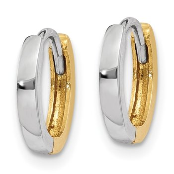 14k Two-tone 1.75mm Round Hinged Hoop Earrings
