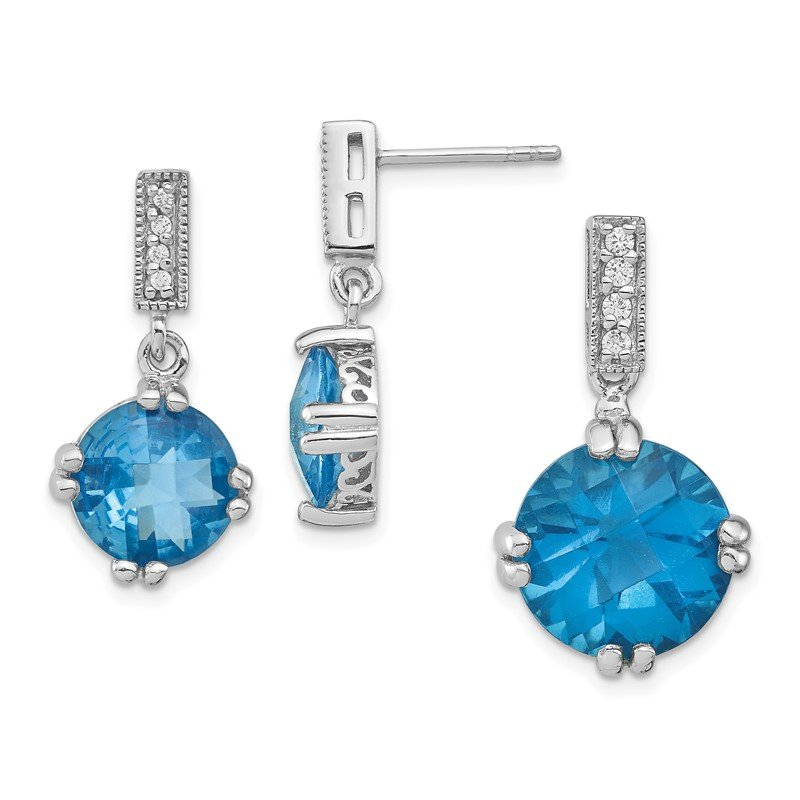 Quality Gold Sterling Silver Rhod-plated Blue and Clear CZ Pendant and Earring Set