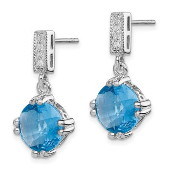 Sterling Silver Rhod-plated Blue and Clear CZ Pendant and Earring Set
