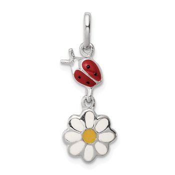 Sterling Silver Rhodium Plated Child Enamel Ladybug/Daisy Pendant