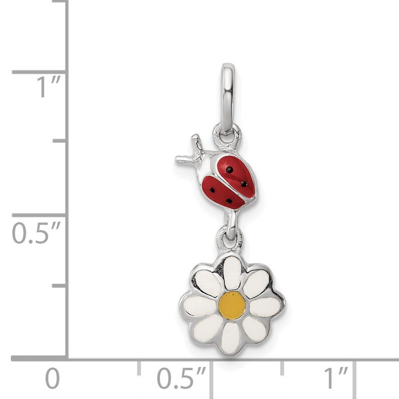 Quality Gold Sterling Silver Rhodium Plated Child Enamel Ladybug/Daisy Pendant