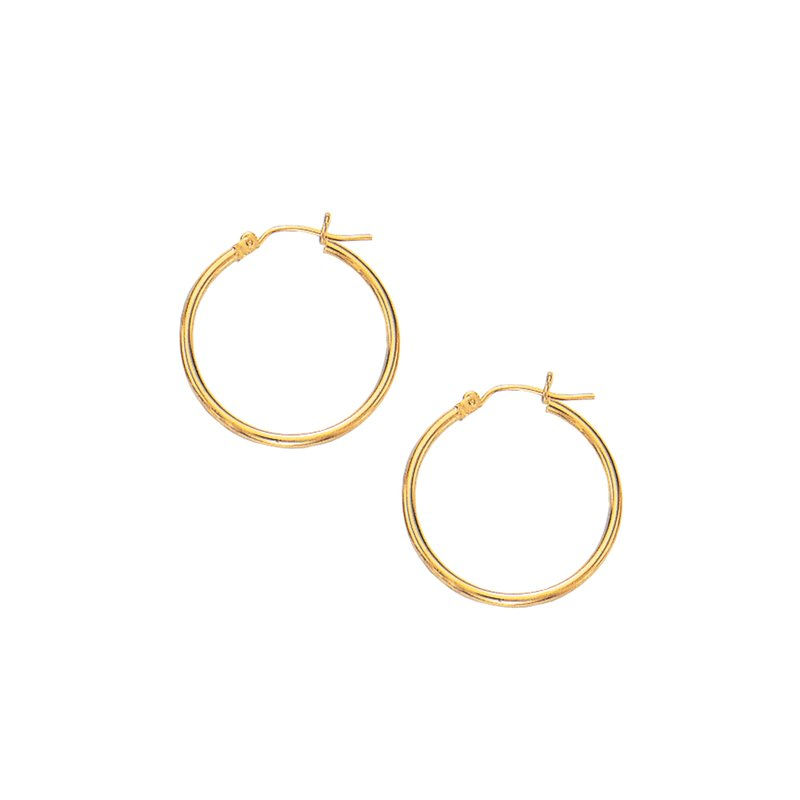 Royal Chain 10K Gold 2x25mm Hoop Earring