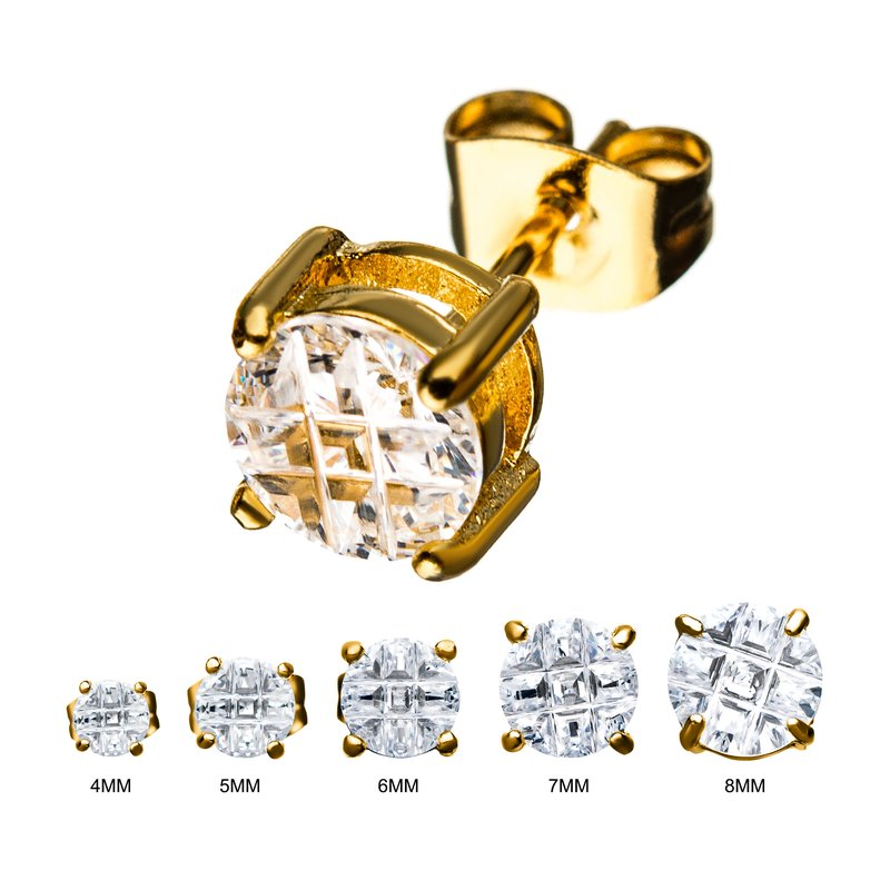 INOX Stainless Steel and Gold Plated with Hashtag CZ Round Cut Stud Earrings