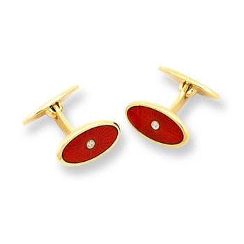 18 Karat Gold Oval Cufflinks-Red.  Diamonds.