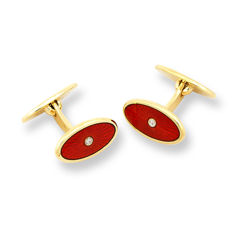 Nicole Barr Designs 18 Karat Gold Oval Cufflinks-Red.  Diamonds.