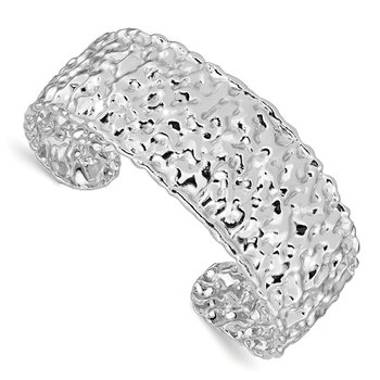 Sterling Silver Rhodium-plated Textured Cuff Bangle