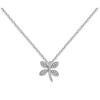 Diamond Mini Dragonfly Necklace in 14k White Gold with 34 Diamonds weighing .11ct tw.