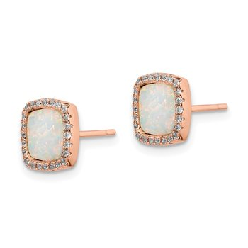Sterling Silver Rose-Tone Square Created Opal CZ Halo Post Earrings